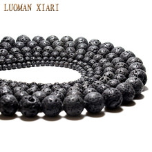 Natural Black Volcanic Lava Rock Stone Round Stone Beads Wholesale DIY For Jewelry Bracelet Making 4 6 8 10 12 14 mm Strand 15''