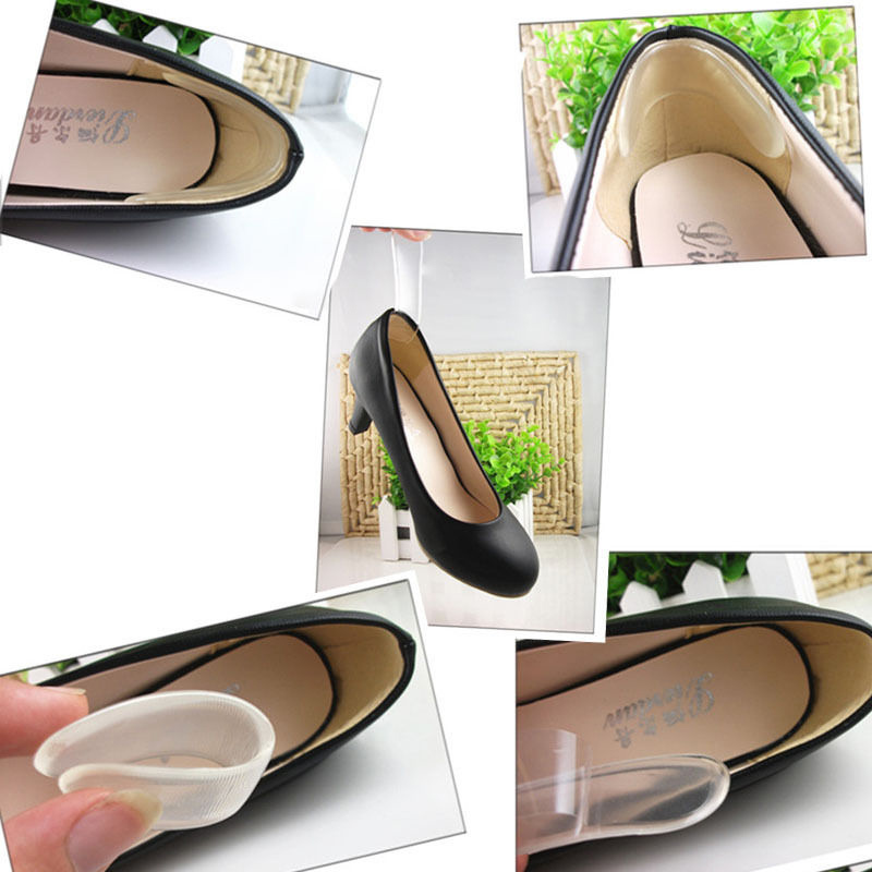 1Pairs Silicone Back Heel Liner Gel Cushion Pads Insole High Dance Shoes Grip New Foot Care Feet Insoles Invisible Cushion(China)