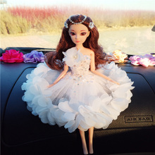 New 2017 Car Ornaments 30CM Doll with Wedding Dress for Girls Cute Bobby Doll Christmas Gift  021701