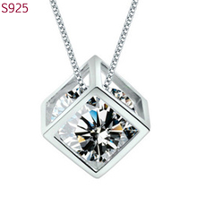 Real Pure Genuine 925 Sterling Silver Pendant for Women Fine Jewelry Purple Crystal Cubic Zircon Korean Fashion No Necklace