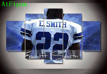 AtFipan 5 Pcs Dallas Cowboys 22 Footballer Emmitt Smith Canvas Oil Poster For Sport Fan Home Decor Wall Pictures For Living Room(China)