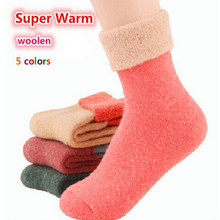 Winter Fluffy Socks Cashmere Women's wool socks thermal thicken winter socks towel hemming warm socks 5 pairs Sokken for woman(China)