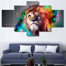 5 Piece HD Canvas Prints Wall Art Lion Animal Pictures Abstract Watercolor Painting Wall Pictures For Living room  framed