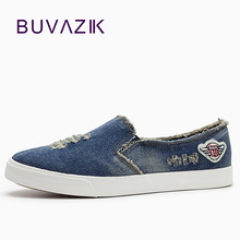 2017 casual shoes new denim cut out canvas shoes flat fashion trend nice comfortable women loafers casual shoes(China)