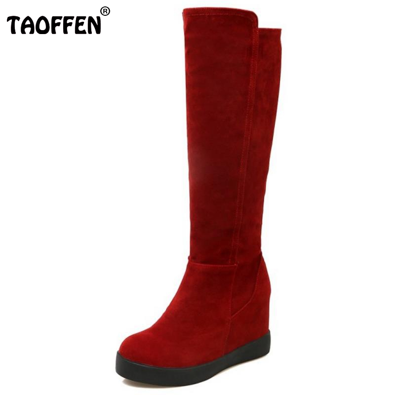 Women Round Toe Wedge Knee Boot Sexy Height Increasing Botas Feminine Woman Good Quality Heeled Footwear Shoes Size 34-39<br>