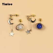 Timlee E031 Free shipping Fashion Contracted Dream Earth Stars Dangle Earrings Dangler Earrings Wholesale(China)