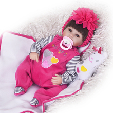 18 Inch Soft Silicone Reborn Dolls Realistic Newborn Baby Girl For Sale Lifelike Baby Alive Dolls Kids Playmate(China)