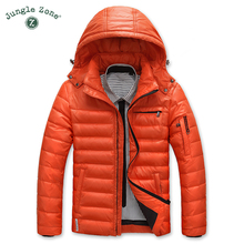 JUNGLE ZONE Warm men's down jacket Casual hooded jacket winter duck down jacket 2017 Thick jackets Men Parkas YR1308(China)