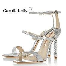 2018 New Women High Heels Luxury Gold Silver Sandals Rhinestone Shoes Woman  Summer Sandals Elegant Party 62ebbb7751ce