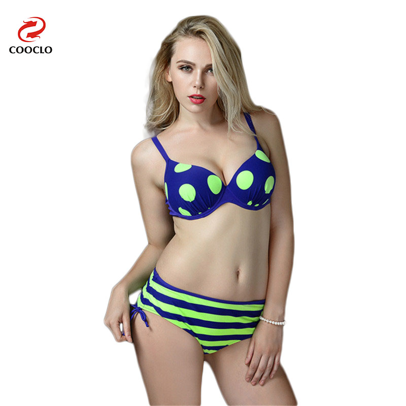 Retro Big Dot Stripe High Waist Swimsuit Women Swimwear Push Up Bikini Bathing Suit Plus Size Biquinis Feminino<br><br>Aliexpress
