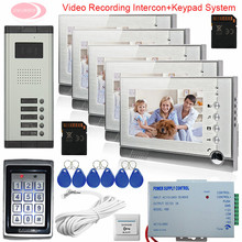 7Inch Color Video DoorPhone Intercom System For 5 Apartments Video intercom With Recording Camera Keypad Access Control System