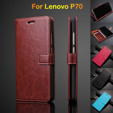 For Lenovo P70 Flip Cover Phone Case For Lenovo P70A Leather Wallet Case Ultra Thin With Card Holder Photo Frame Brown For Women(China)