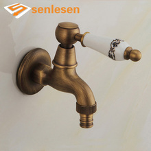 Wall Mounted Antique Brass Washing Machine Taps Single Handle Cold Water Faucet