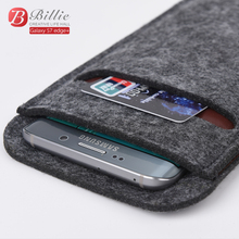 Universal High Quality 5.7 inch Wallet Case Wool Felt Smartphone Pouch Sleeve Bag Case For samsung galaxy s6 edge Plus Phone Bag