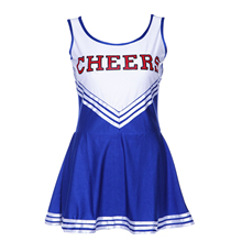 L(38-40) Girl Blue Fancy Pom Cheerleaders Dress