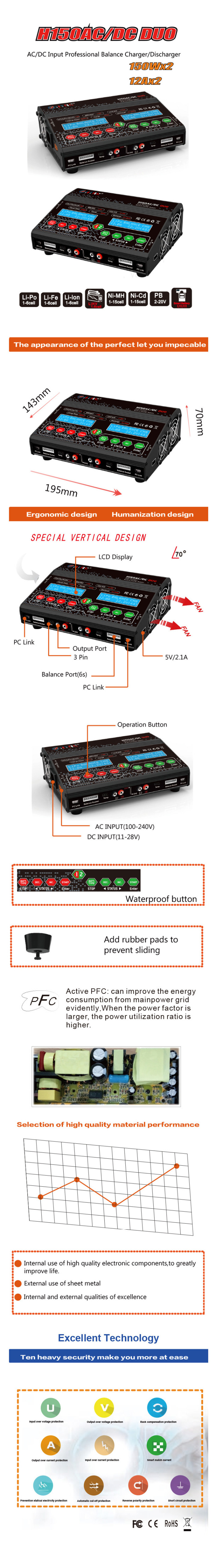 HTRC H150 AC DC DUO 150W 12A Balance charger (1)