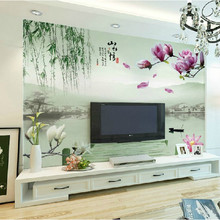 High quality large 3D Chinese classical and fashion style mural wallpaper with flowers in bedroom TV background living room