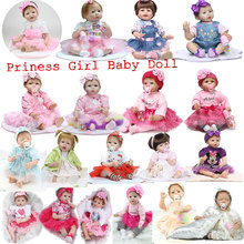 Lovely Girl 55cm Lifelike Newborn Baby Doll Princess Dress Gift Doll 22inch Soft Silicone Reborn Doll Toys Realistic Bebe Reborn
