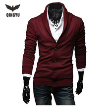 Mens Sweater Long Sleeve Cardigan Male Solid V-Neck Autumn Knitted Sweaters Men Casual Slim Fit Red Knitting Cardigan Men(China)