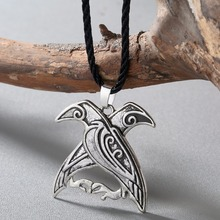 CHENGXUN New Design Valknut Pagan Amulet Necklace Norse Viking Mythology Jewelry Odin's Ravens Pendant Bird Talisman Necklace(China)