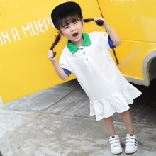 High Quality Girls Dress Cotton Ruffles Dresses Kids Polo Shirts  College Dress Children's Clothes  Casual Costume 2-8 Years