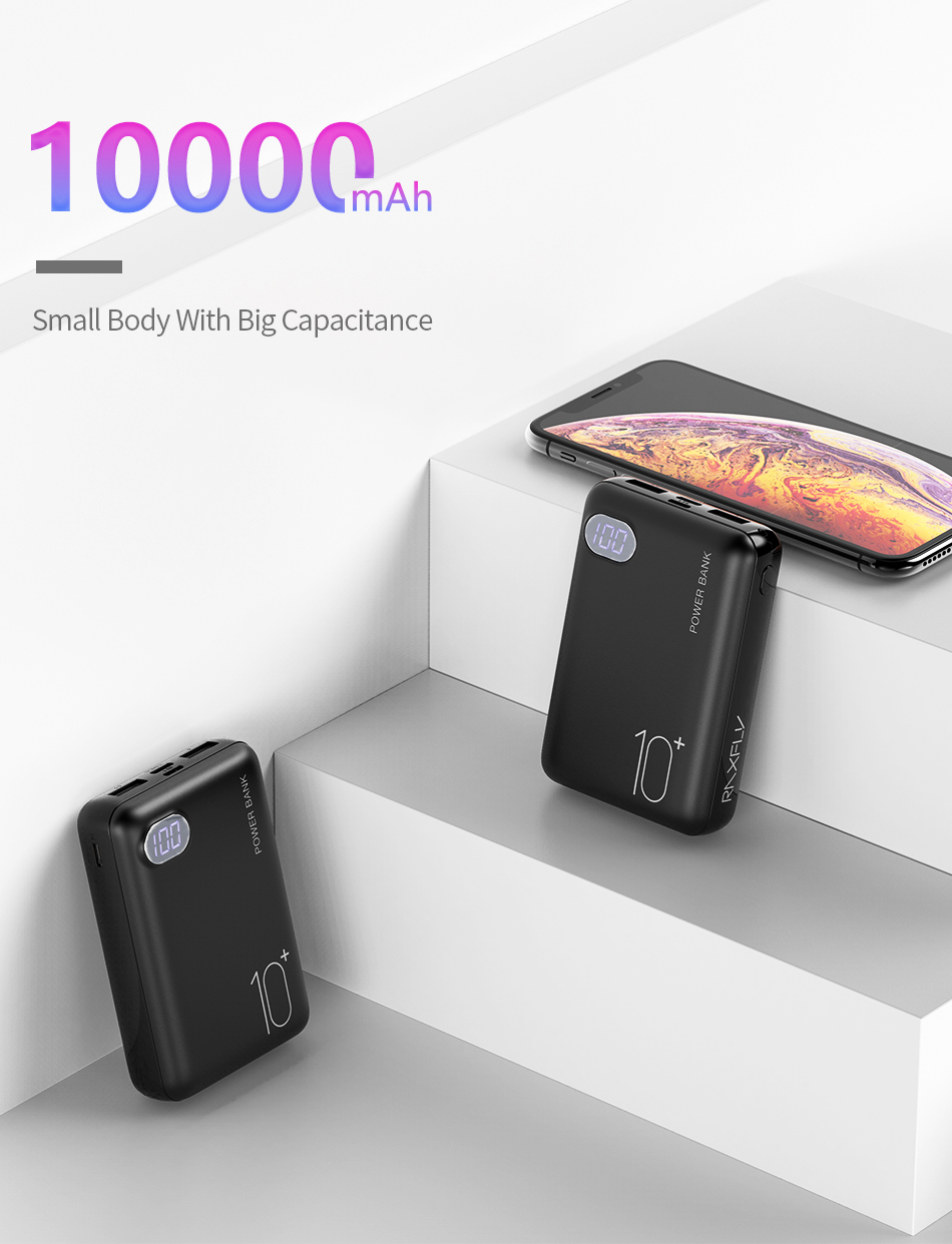 RAXFLY Mini Power Bank 10000mAh Dual USB Portable Charger Powerbank For Xiaomi Mi 9T Pro LED Display External Battery Poverbank 1