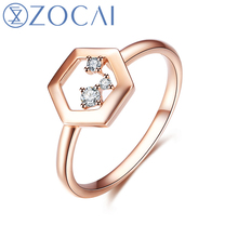 ZOCAI Brang Ring The Honeycomb Series Real 0.05 CT Diamond Ring 18K Rose Gold (Au750) JBW90224T(China)