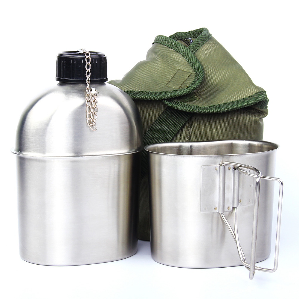 High Quality Portable Stainless Steel Military Canteen 1L Portable with 0.5L Cup Green Cover Camping Hiking G.I.<br>