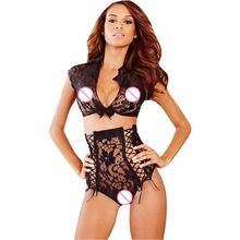 FeelinGirl Sexy Two Pieces Lingerie See Through Lace Lenceria Sexy Hot Erotic Costume Lace Mesh Nightwear 2017 Sexy Underwear B(China)