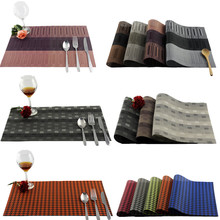 Dining Table PVC Placemats One Piece Sale Solid Swallow Grid Bamboo Waterproof  Heat-Insulated Disc Pads For Home And Restaurant