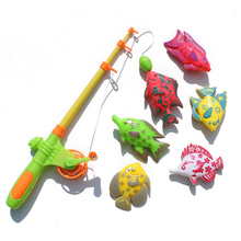 1Set 6Pcs Baby Toys Magnetic Fishing Game Board Scalable Fishing rod Cartoon Fishing Toys Children Education Toys for Children(China)