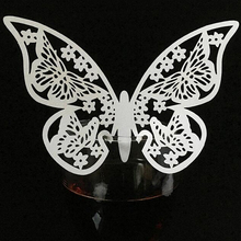 10 Colos 50pcs Butterfly Laser Cut Wedding Place Cards Table Mark Wine Glass Name Place Cards Wedding Birthday Party Supplies(China)