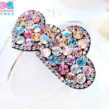 Danqing 1 PCS Double heart Romantic Barrettes Swarovski Rhinestone Hair jewelry Accessories(China)