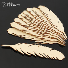 Modern 10Pcs Feather Wood Crafts Cutting Laser Cut Fiberboard Ornaments Woodwork For Scrapbooking Tree Card Crafts DIY Material(China)
