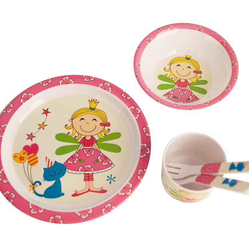 Baby Feeding Dishes Set Bowl Plate Forks Spoon Cup Children's Tableware Melamine Dinnerware Feeding Set For Kids Dishes Plate (7)