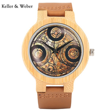 KW New Modern Men Bamboo Handmade Watches Hot Doctor Who Unique Dial Sport Style with Genuine Leather Band Strap Gift Analog(China)