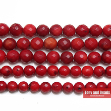 "Free Shipping Natural Stone AA Quality Faceted Red Coral Round Beads 15"" Strand 5 7MM Pick Size For Jewelry Making(China)"