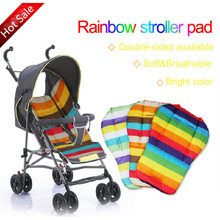 1Pc,Rainbow Stripe Baby Car Seat Stroller Accessories Pram Thick Chair Mat Kids Car Umbrella Cart Baby Stroller Seat Cushion