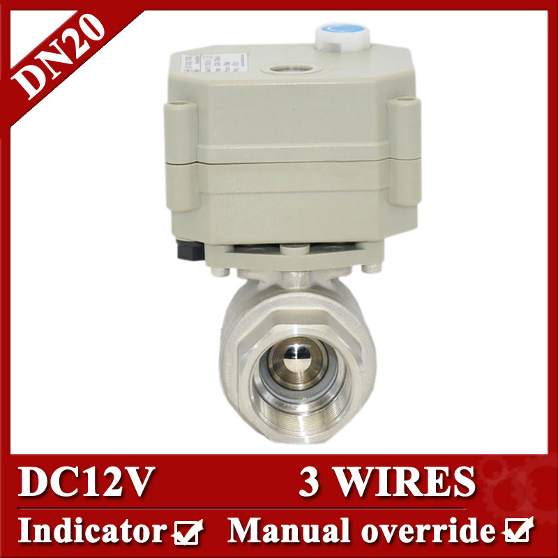 3/4 DC12V Full Port NPT/BSP two way motor operated valve, 3 wires(CR301)electric valve with manual override for fan coil<br>