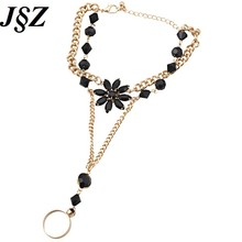 Fashion Alloy Black Acrylic Gem Bracelet Hand Chain High Quantify  Female One Bracelet Bague Accessories