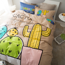 Sookie 4 Pieces 100% Cotton Duvet Cover Sets Cactus Printed Quilt Cover Pillowcase Bed Sheet Bed Linen King Size Bedding Set