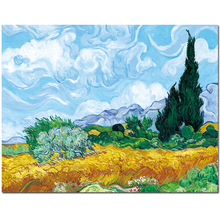Prints Vincent Van Gogh Reproduction Oil Painting Green Wheat Field With Cypresses Frameless Art On Canvas For Home Decor