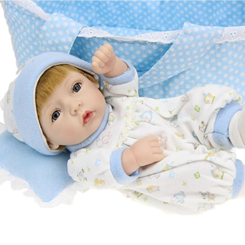 Golden Synthetic Hair Reborn Baby Dolls 11 Inch Full Silicone Vinyl Boy Newborn Baby Doll Boneca Kids Birthday Xmas Gift<br><br>Aliexpress