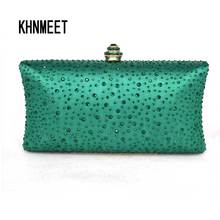 Green Emerald Rhinestones Women Crystal Clutch Evening bags Ladies Wedding Party Bridal Chains Shoulder Bag party Purse 01