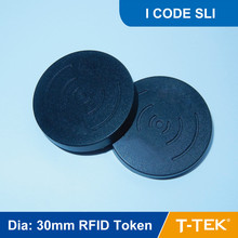 Dia: 30mm RFID Token for Asset Management ISO15693 13.56MHZ with  I CODE SLI Chip free shipping
