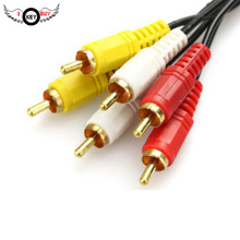 I Key Buy Cheapest 1.5M 3 Into 3 Out Lotus Line 6 Male Speaker DVD Audio Cable Video Kit Set-Top Box AV 3RCA Black(China)
