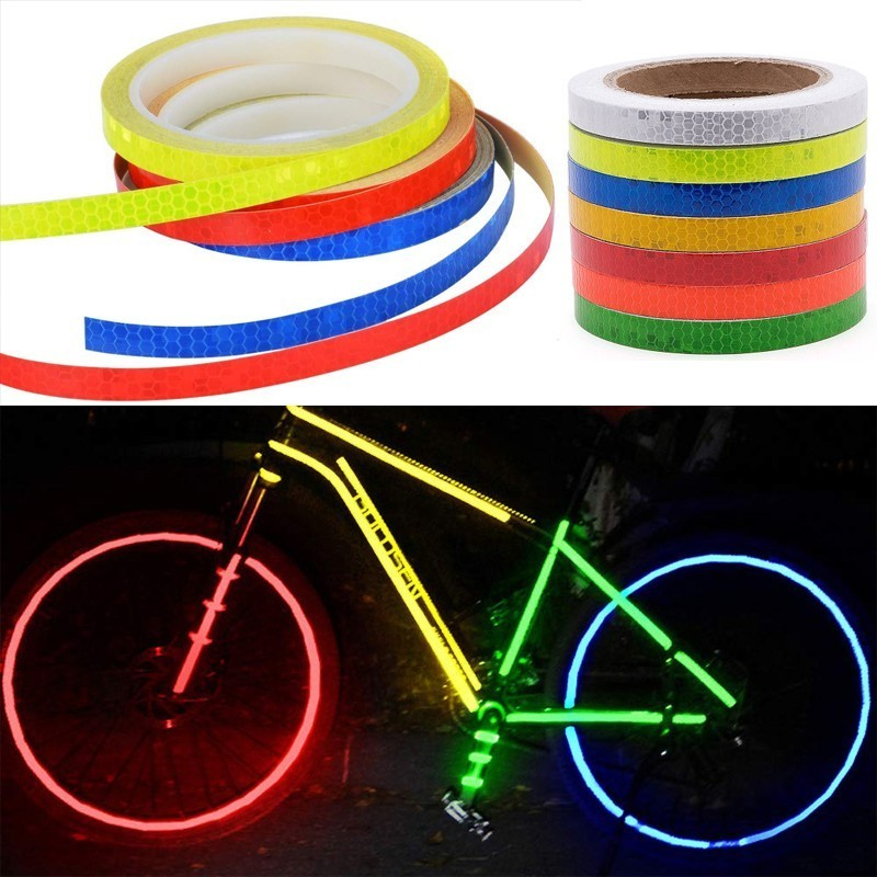 MTB Reflective Stickers Reflective Tape Fluorescent Bike Bicycle Adhesive Tape~