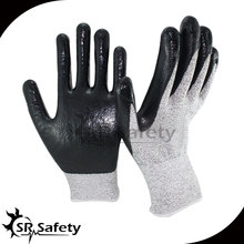 SRSAFETY 12 Pairs EN388 4343,Nylon-HPPE Cut Resistant Nitrile Dipping Working Glove,Glass industry,Metal processing,Cut Level 3