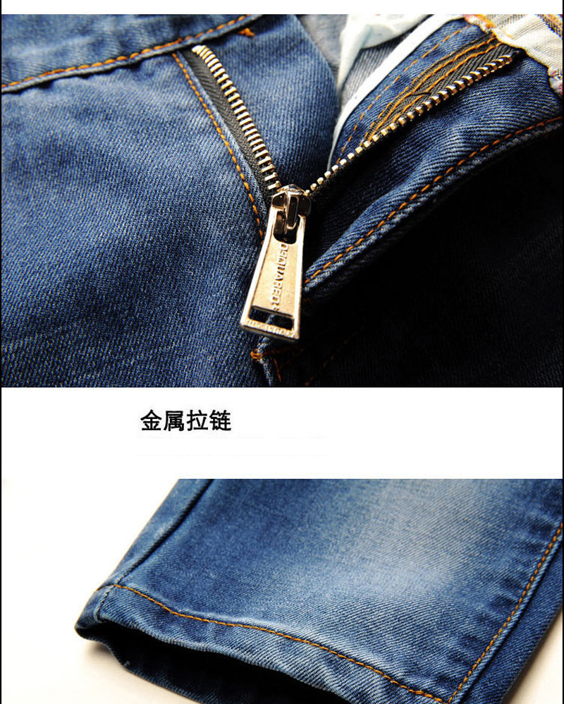 GUIXIANG Men leisure long denim jeans fashion casual solid hole zippers trousers men's slim straight jeans pants size 28-38