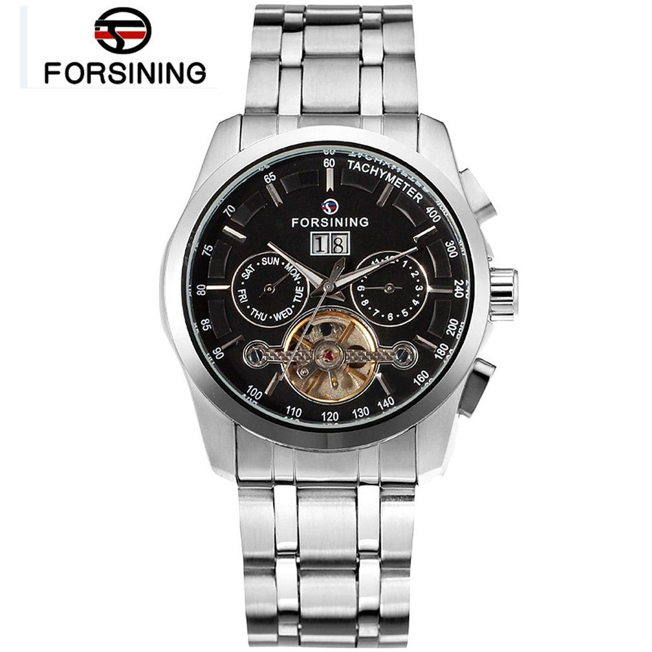 FORSINING Erkek Kol Saati Day/Month Tourbillion Automatic Mechanical Watch Wristwatch Gift Box Free Ship<br>